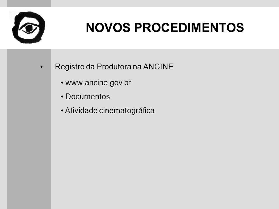 NOVOS PROCEDIMENTOS Contrato de Produção Registro no cartório Resumo do contrato Contrato Padrão ABAP / APRO weather day / contingency day Remuneração sobre custos de terceiros Direitos autorais: outras mídias / mercado / exportação Renovação Anexos (1, 2, 3 e 4)