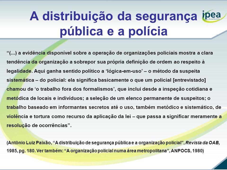 A distribuição da segurança pública e a polícia (...) a evidência disponível sobre a operação de organizações policiais mostra a clara tendência da or