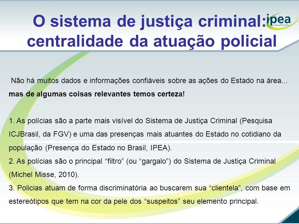 O sistema de justiça criminal: centralidade da atuação policial Não há muitos dados e informações confiáveis sobre as ações do Estado na área... mas d