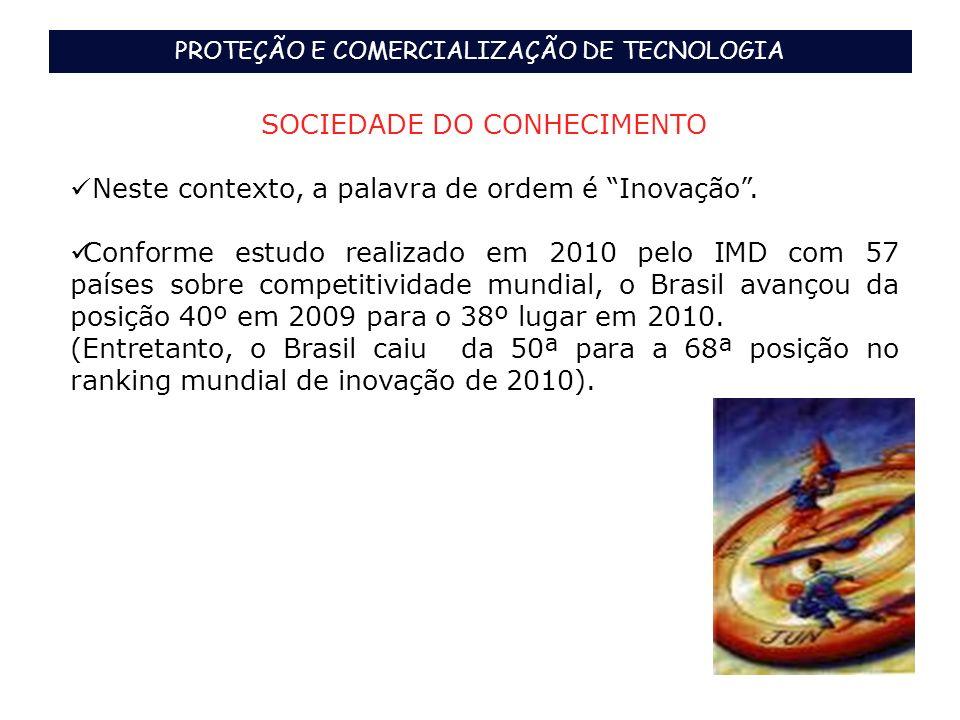 PROTEÇÃO E COMERCIALIZAÇÃO DE TECNOLOGIA SOCIEDADE DO CONHECIMENTO Neste contexto, a palavra de ordem é Inovação. Conforme estudo realizado em 2010 pe