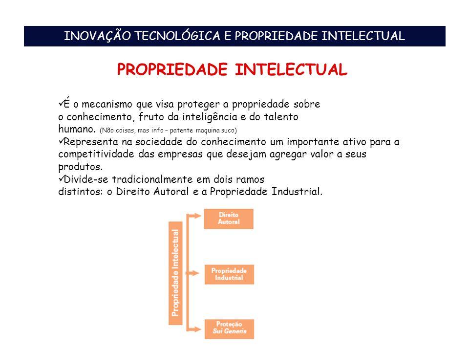 PROPRIEDADE INTELECTUAL É o mecanismo que visa proteger a propriedade sobre o conhecimento, fruto da inteligência e do talento humano. (Não coisas, ma