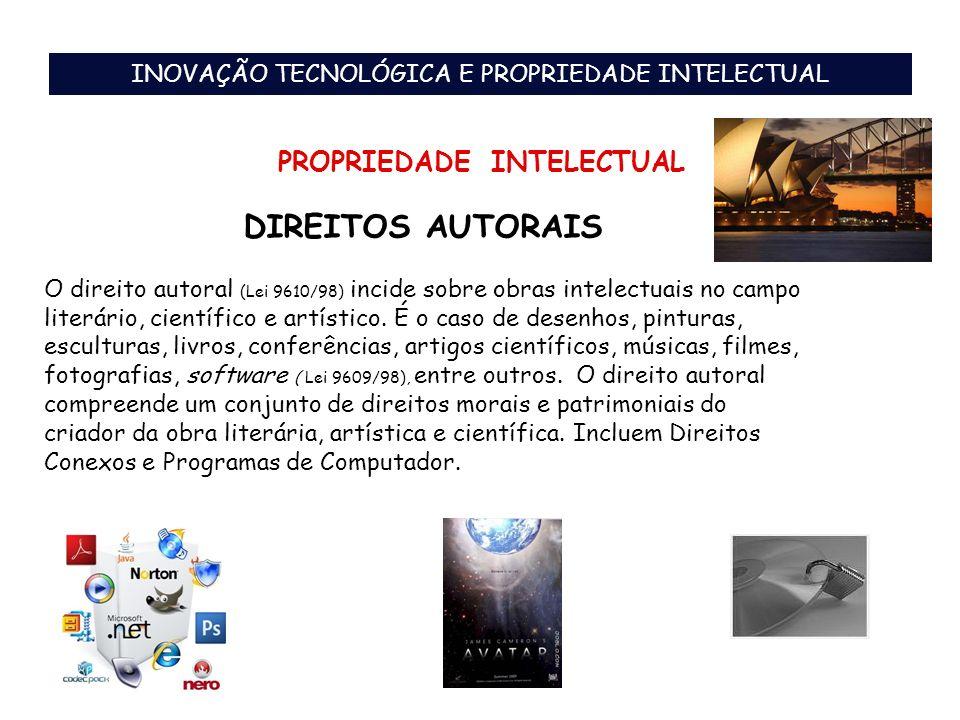 DIREITOS AUTORAIS INOVAÇÃO TECNOLÓGICA E PROPRIEDADE INTELECTUAL PROPRIEDADE INTELECTUAL O direito autoral (Lei 9610/98) incide sobre obras intelectua