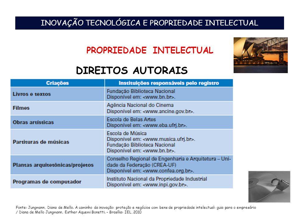 DIREITOS AUTORAIS INOVAÇÃO TECNOLÓGICA E PROPRIEDADE INTELECTUAL PROPRIEDADE INTELECTUAL Fonte: Jungmann, Diana de Mello. A caminho da inovação: prote