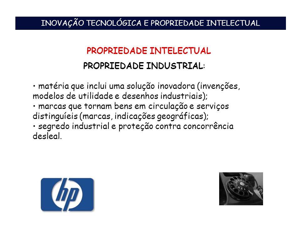 PROPRIEDADE INDUSTRIAL: matéria que inclui uma solução inovadora (invenções, modelos de utilidade e desenhos industriais); marcas que tornam bens em c