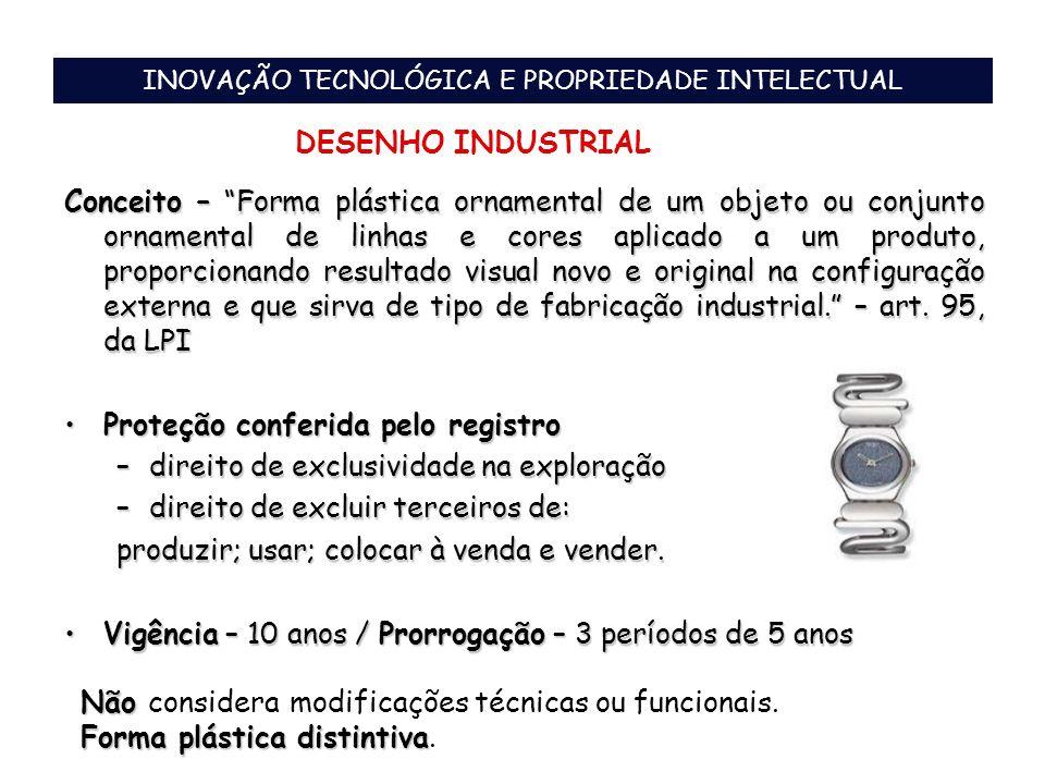 INOVAÇÃO TECNOLÓGICA E PROPRIEDADE INTELECTUAL DESENHO INDUSTRIAL Conceito – Forma plástica ornamental de um objeto ou conjunto ornamental de linhas e