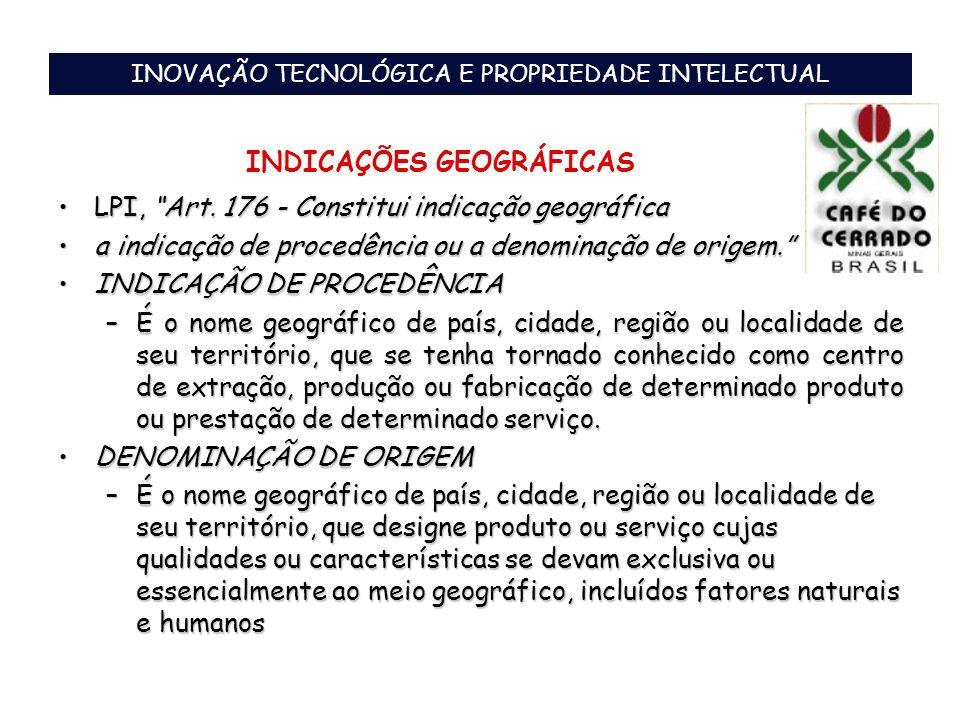 INOVAÇÃO TECNOLÓGICA E PROPRIEDADE INTELECTUAL INDICAÇÕES GEOGRÁFICAS LPI, Art. 176 - Constitui indicação geográficaLPI, Art. 176 - Constitui indicaçã