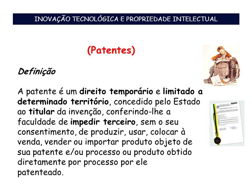 (Patentes) Definição A patente é um direito temporário e limitado a determinado território, concedido pelo Estado ao titular da invenção, conferindo-l