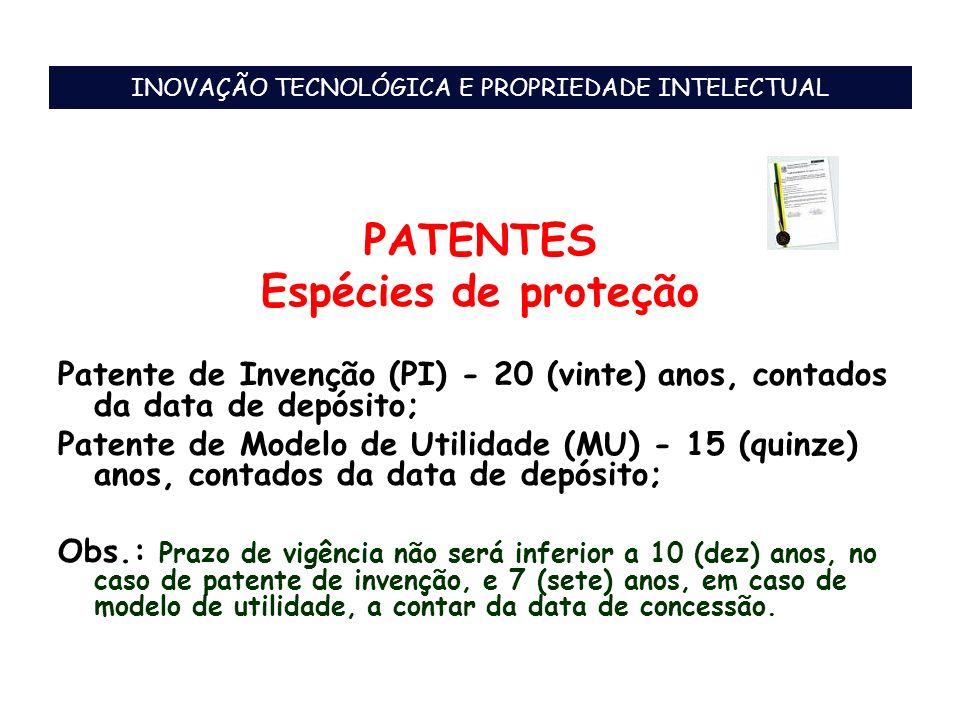 PATENTES Espécies de proteção Patente de Invenção (PI) - 20 (vinte) anos, contados da data de depósito; Patente de Modelo de Utilidade (MU) - 15 (quin