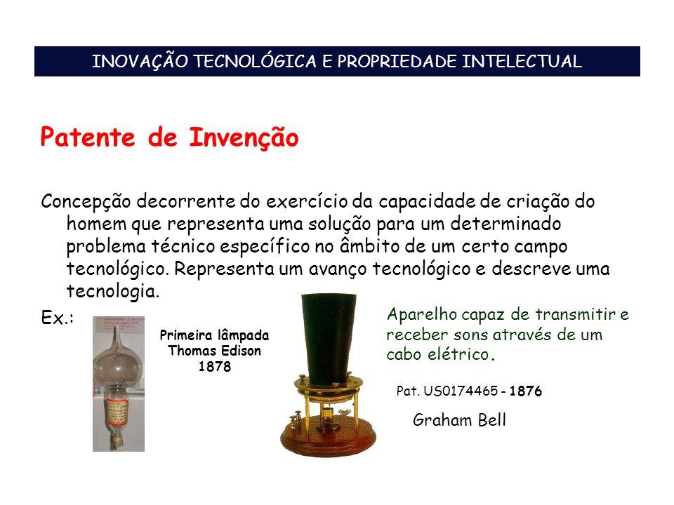 Patente de Invenção Concepção decorrente do exercício da capacidade de criação do homem que representa uma solução para um determinado problema técnic