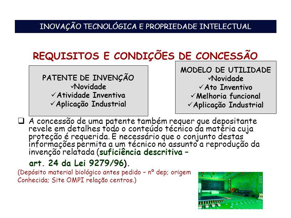 REQUISITOS E CONDIÇÕES DE CONCESSÃO A concessão de uma patente também requer que depositante revele em detalhes todo o conteúdo técnico da matéria cuj