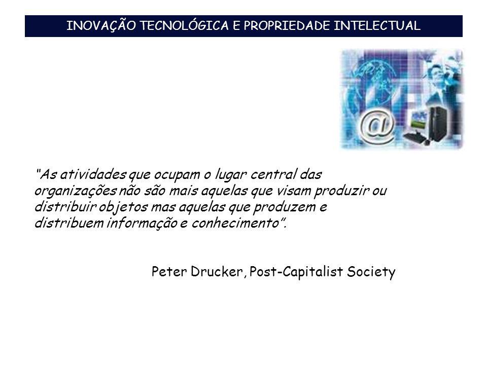 Breve Histórico Legal (Propriedade Intelectual e Inovação) 1809 - Alvará do Príncipe Regente – Brasil 1833 – Convenção da União de Paris – 163 países signatários 1970 - Acordo TRIPS -> (1994 – regulamentação) 1996 - 1998 - Leis de proteção à propriedade intelectual (LPI, LDA, LPC, LC) 2004 - Lei de Inovação Tecnológica – ênfase na inovação e na propriedade intelectual -> (2005 – regulamentação) Aumento no número de programas governamentais e fundos setoriais para financiamento da pesquisa e fomento da proteção intelectual dos resultados inovadores 2006 – Lei do Bem 2007 – Lei de Registro de Topografia de Circuitos Integrados – Lei nº 11.484/07 INOVAÇÃO TECNOLÓGICA E PROPRIEDADE INTELECTUAL