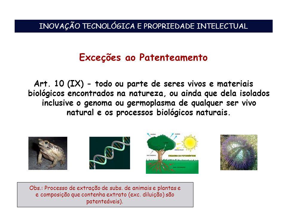 Exceções ao Patenteamento Art. 10 (IX) - todo ou parte de seres vivos e materiais biológicos encontrados na natureza, ou ainda que dela isolados inclu