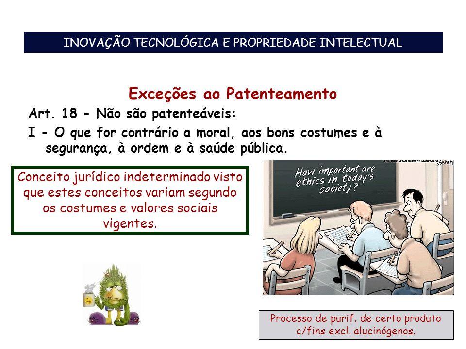Exceções ao Patenteamento Art. 18 - Não são patenteáveis: I - O que for contrário a moral, aos bons costumes e à segurança, à ordem e à saúde pública.