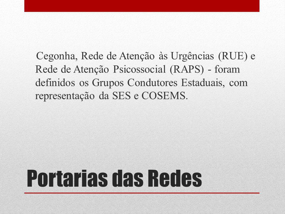 Portarias das Redes Cegonha, Rede de Atenção às Urgências (RUE) e Rede de Atenção Psicossocial (RAPS) - foram definidos os Grupos Condutores Estaduais