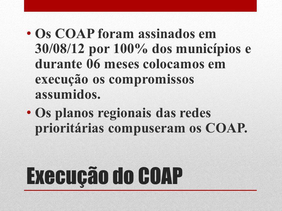 Execução do COAP Os COAP foram assinados em 30/08/12 por 100% dos municípios e durante 06 meses colocamos em execução os compromissos assumidos. Os pl
