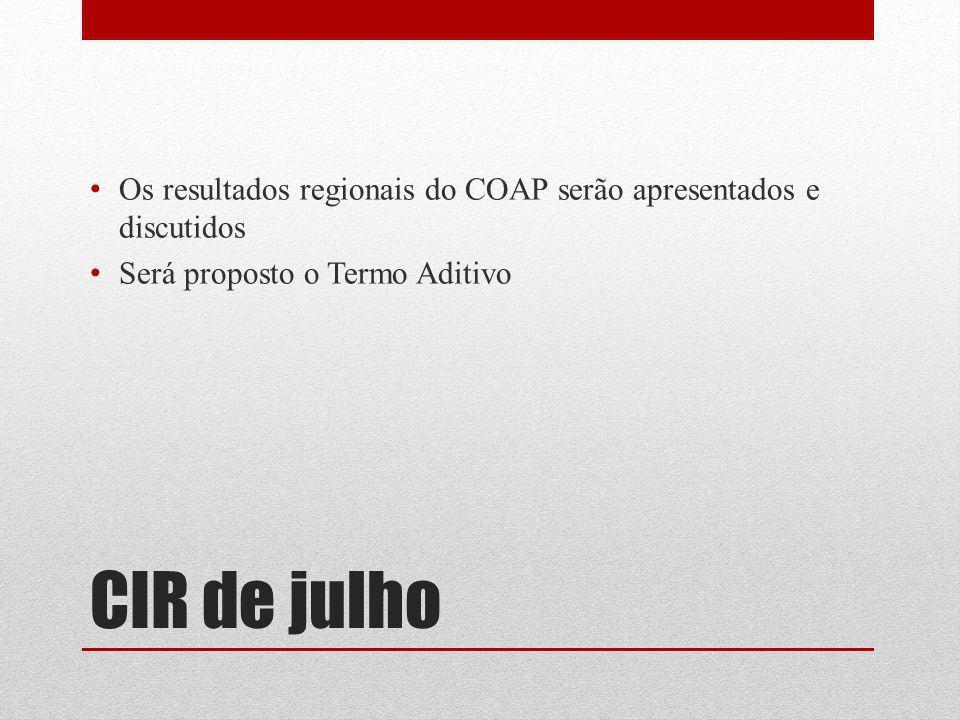 CIR de julho Os resultados regionais do COAP serão apresentados e discutidos Será proposto o Termo Aditivo