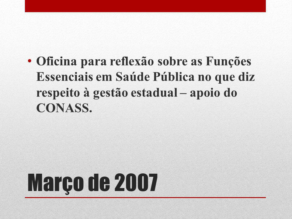 Março de 2007 Oficina para reflexão sobre as Funções Essenciais em Saúde Pública no que diz respeito à gestão estadual – apoio do CONASS.