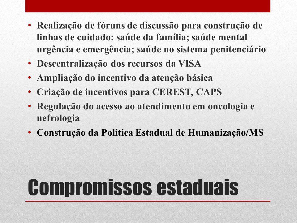 Compromissos estaduais Realização de fóruns de discussão para construção de linhas de cuidado: saúde da família; saúde mental urgência e emergência; s