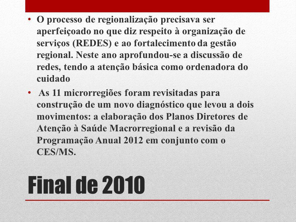 Final de 2010 O processo de regionalização precisava ser aperfeiçoado no que diz respeito à organização de serviços (REDES) e ao fortalecimento da ges