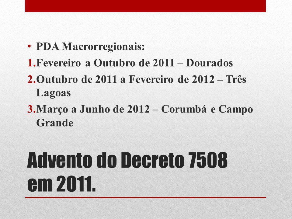 Advento do Decreto 7508 em 2011. PDA Macrorregionais: 1.Fevereiro a Outubro de 2011 – Dourados 2.Outubro de 2011 a Fevereiro de 2012 – Três Lagoas 3.M