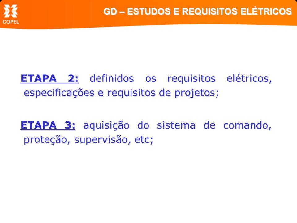 ETAPA 2: definidos os requisitos elétricos, especificações e requisitos de projeto ETAPA 2: definidos os requisitos elétricos, especificações e requis