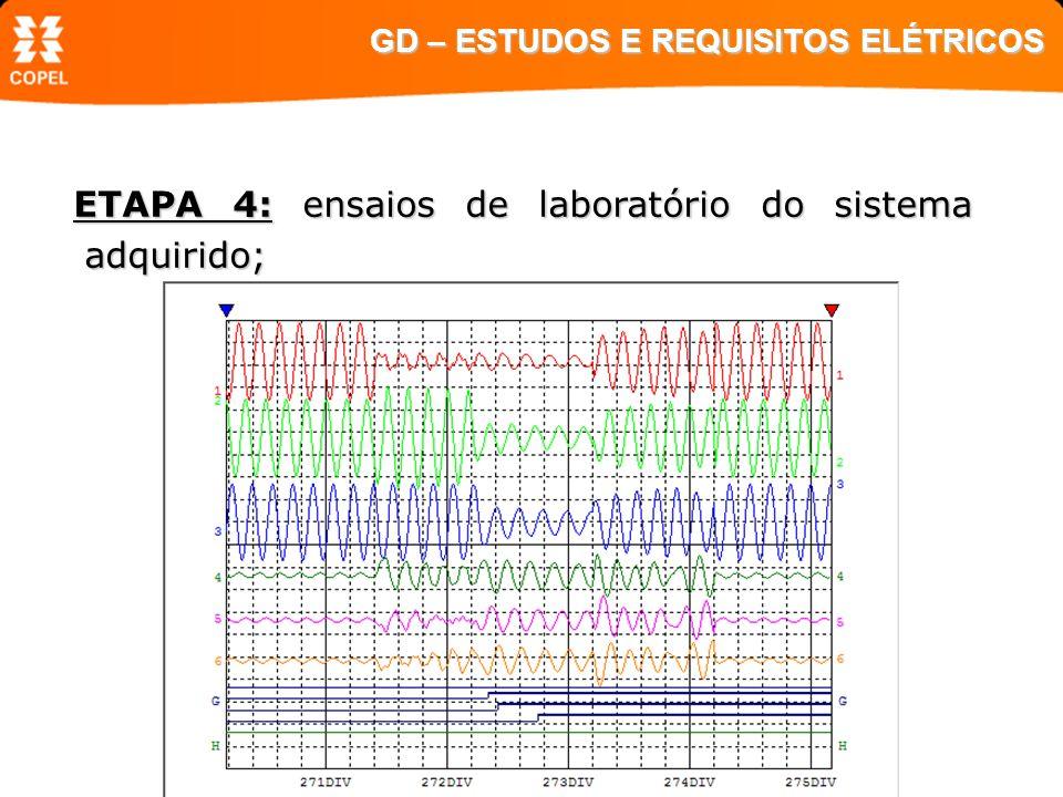 ETAPA 4: ensaios de laboratório do sistema adquirido; GD – ESTUDOS E REQUISITOS ELÉTRICOS