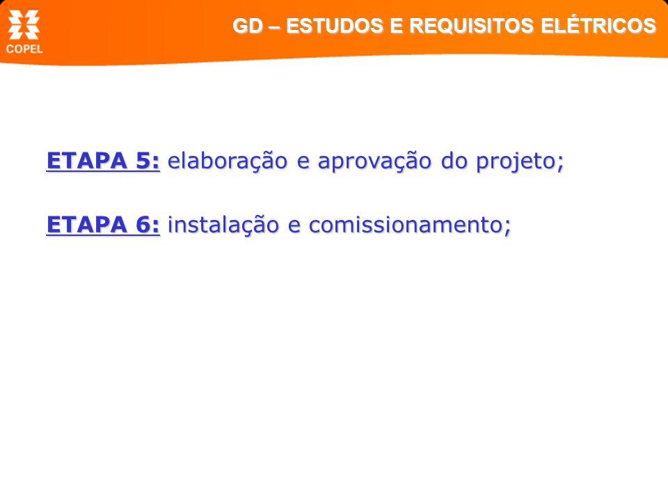 ETAPA 5: elaboração e aprovação do projeto; ETAPA 6: instalação e comissionamento; GD – ESTUDOS E REQUISITOS ELÉTRICOS