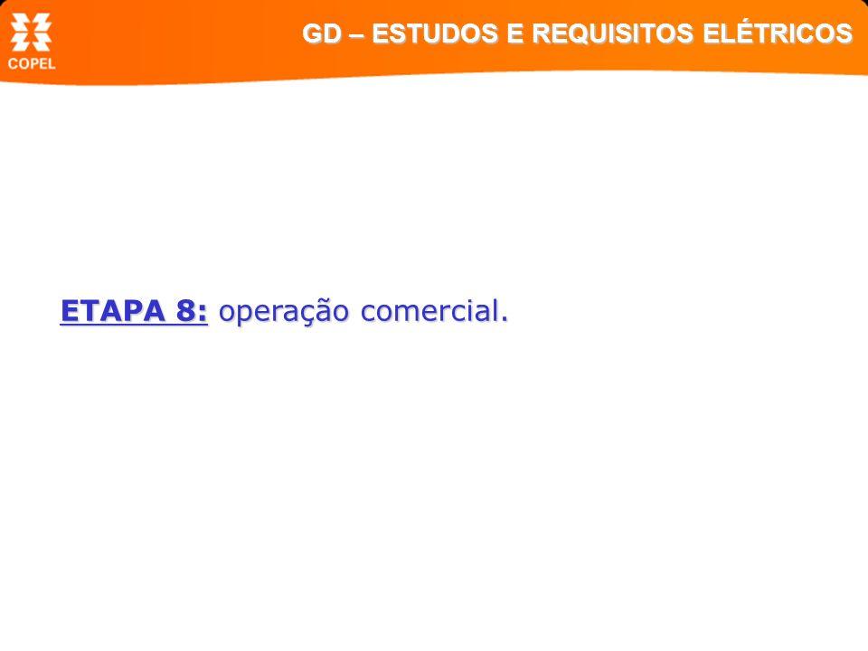 ETAPA 8: operação comercial. GD – ESTUDOS E REQUISITOS ELÉTRICOS