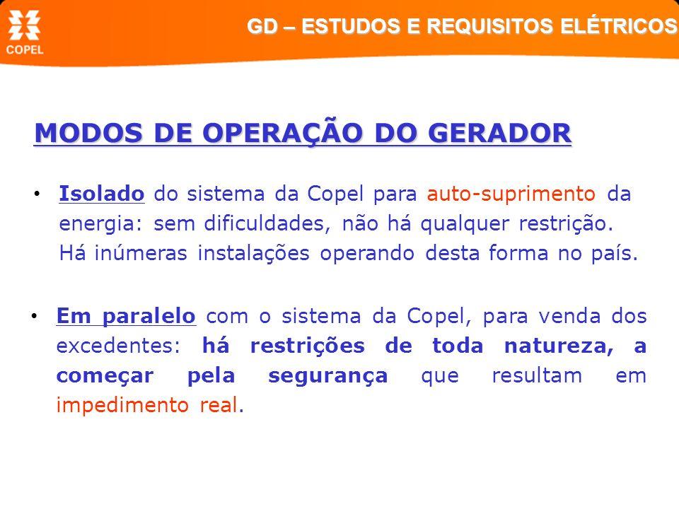 MODOS DE OPERAÇÃO DO GERADOR Em paralelo com o sistema da Copel, para venda dos excedentes: há restrições de toda natureza, a começar pela segurança q