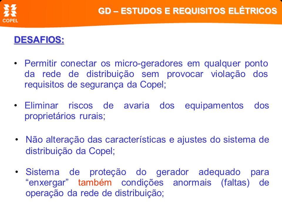 DESAFIOS: Eliminar riscos de avaria dos equipamentos dos proprietários rurais; Não alteração das características e ajustes do sistema de distribuição