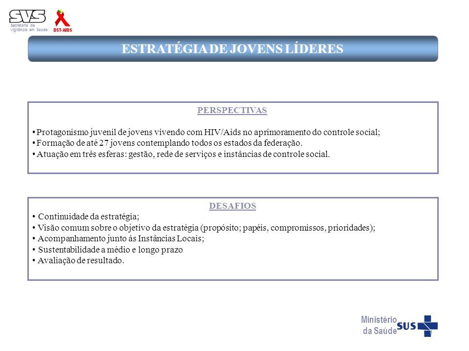 Secretaria de Vigilância em Saúde ESTRATÉGIA DE JOVENS LÍDERES DESAFIOS Continuidade da estratégia; Visão comum sobre o objetivo da estratégia (propós