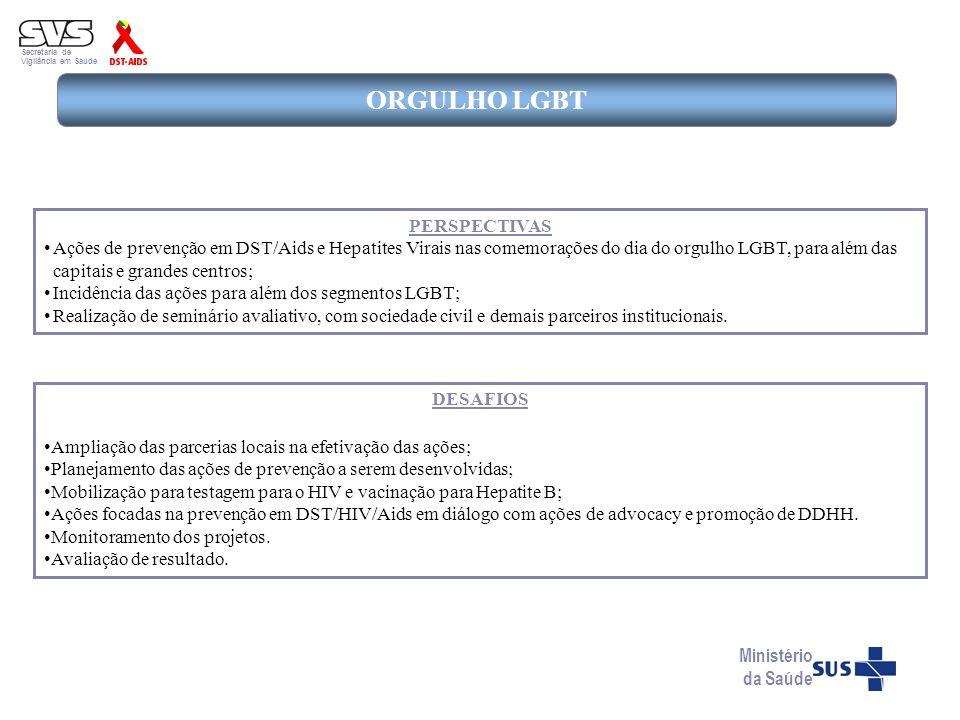 Secretaria de Vigilância em Saúde ORGULHO LGBT DESAFIOS Ampliação das parcerias locais na efetivação das ações; Planejamento das ações de prevenção a