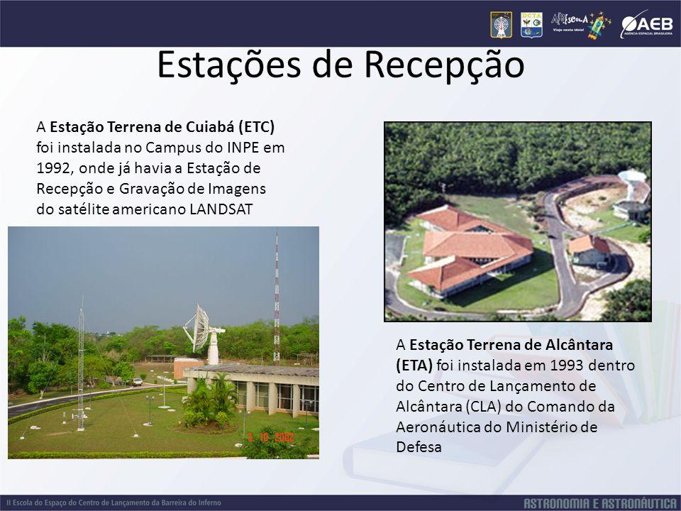 Estações de Recepção A Estação Terrena de Cuiabá (ETC) foi instalada no Campus do INPE em 1992, onde já havia a Estação de Recepção e Gravação de Imag