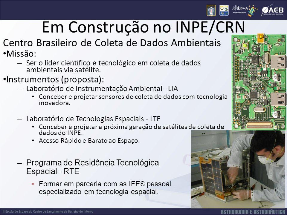 Em Construção no INPE/CRN Centro Brasileiro de Coleta de Dados Ambientais Missão: – Ser o líder científico e tecnológico em coleta de dados ambientais