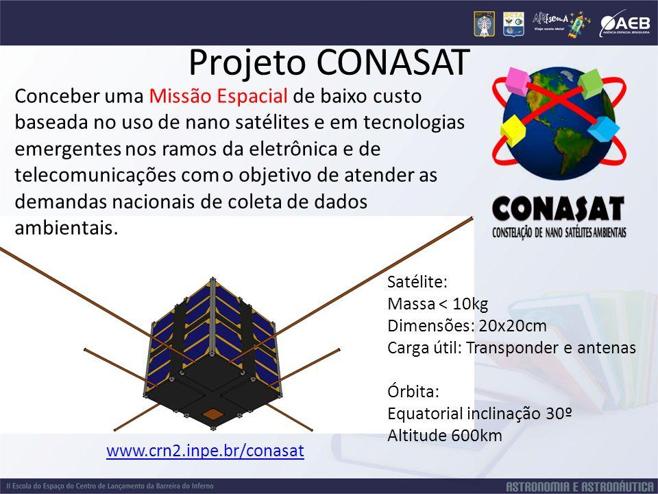 Projeto CONASAT Conceber uma Missão Espacial de baixo custo baseada no uso de nano satélites e em tecnologias emergentes nos ramos da eletrônica e de