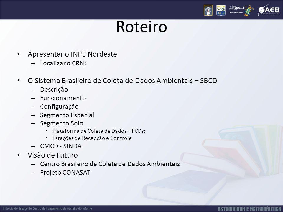 Roteiro Apresentar o INPE Nordeste – Localizar o CRN; O Sistema Brasileiro de Coleta de Dados Ambientais – SBCD – Descrição – Funcionamento – Configur