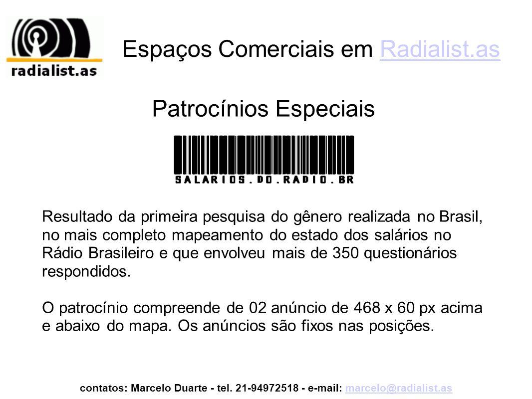 Espaços Comerciais em Radialist.asRadialist.as Resultado da primeira pesquisa do gênero realizada no Brasil, no mais completo mapeamento do estado dos