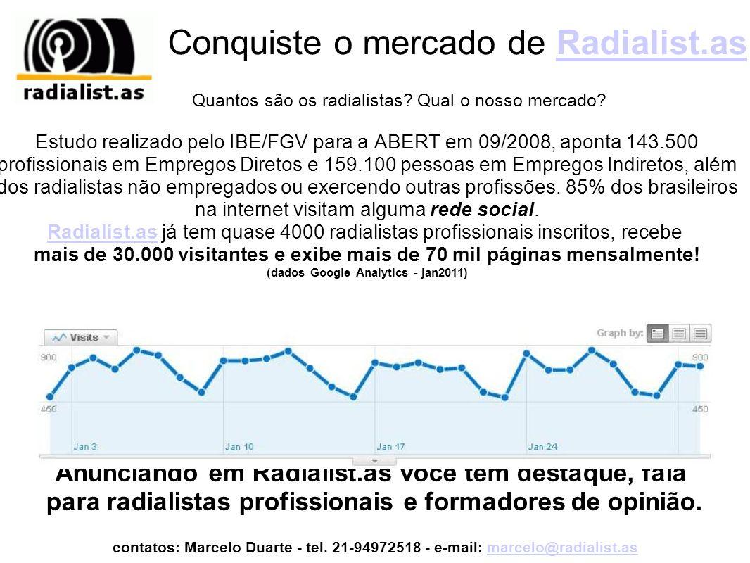 Anuncie em Radialist.asRadialist.as Através do Radialist.as, profissionais de rádio e TV acessam as melhores ferramentas para se divulgar profissionalmente ou estabelecer contato com radialistas de todo o Brasil e do Exterior que participam da Rede Social gratuitamente e com alto índice de satisfação, e a sua empresa estará associada a tudo isso!Radialist.asRede Social Além disso, mantemos contatos com agências de publicidade, produtoras de áudio, cinema e dublagem e emissoras de todos os Estados Brasileiros apresentando os nossos radialistas e firmando Radialist.as como o ponto de encontro dos melhores profissionais de rádio e tv, onde a sua marca aparece com destaque e retorno do investimento!.