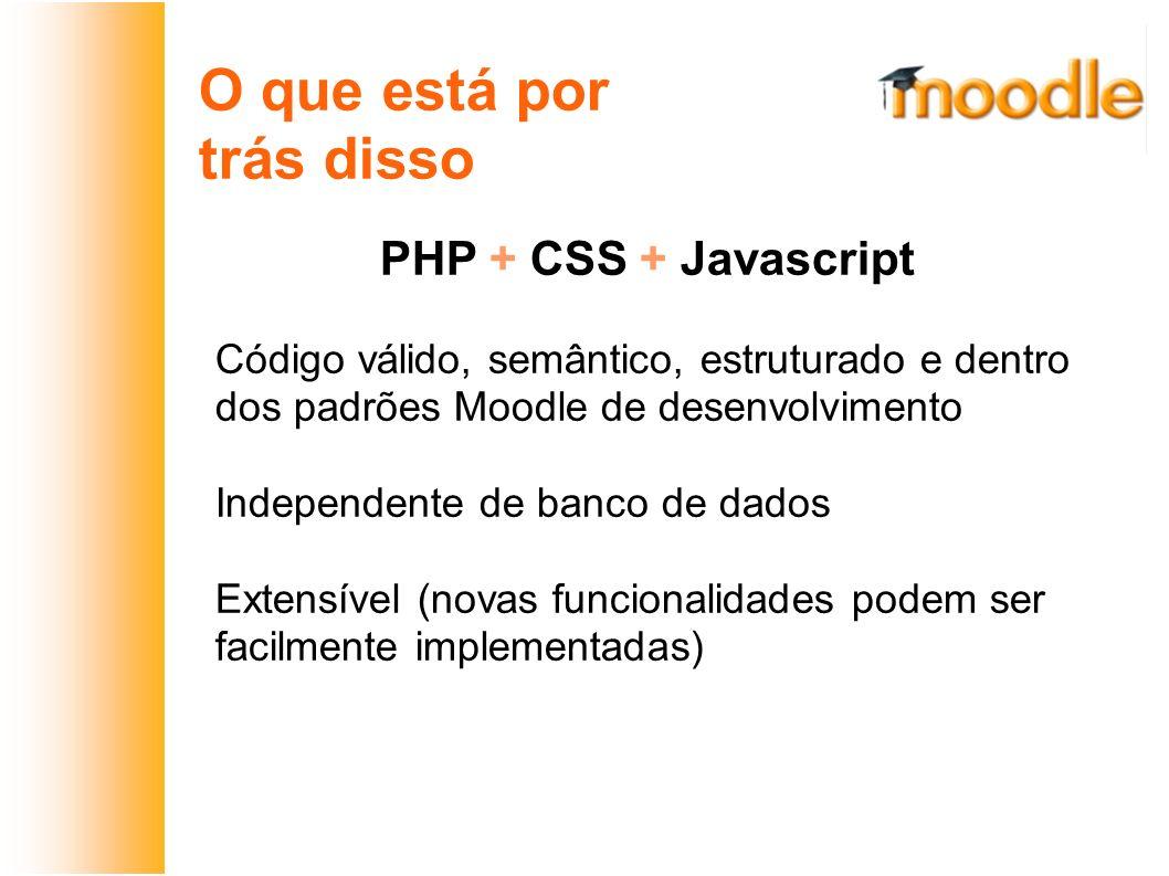 O que está por trás disso PHP + CSS + Javascript Código válido, semântico, estruturado e dentro dos padrões Moodle de desenvolvimento Independente de