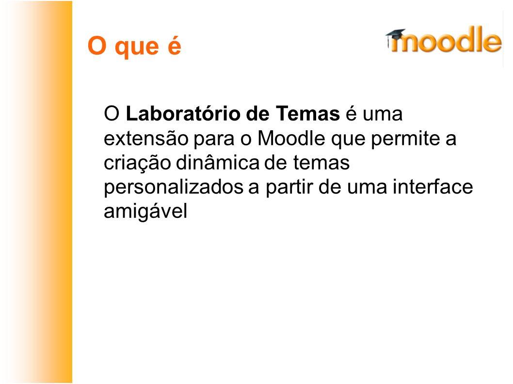 O que é O Laboratório de Temas é uma extensão para o Moodle que permite a criação dinâmica de temas personalizados a partir de uma interface amigável