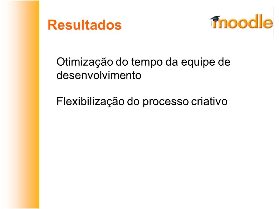 Resultados Otimização do tempo da equipe de desenvolvimento Flexibilização do processo criativo