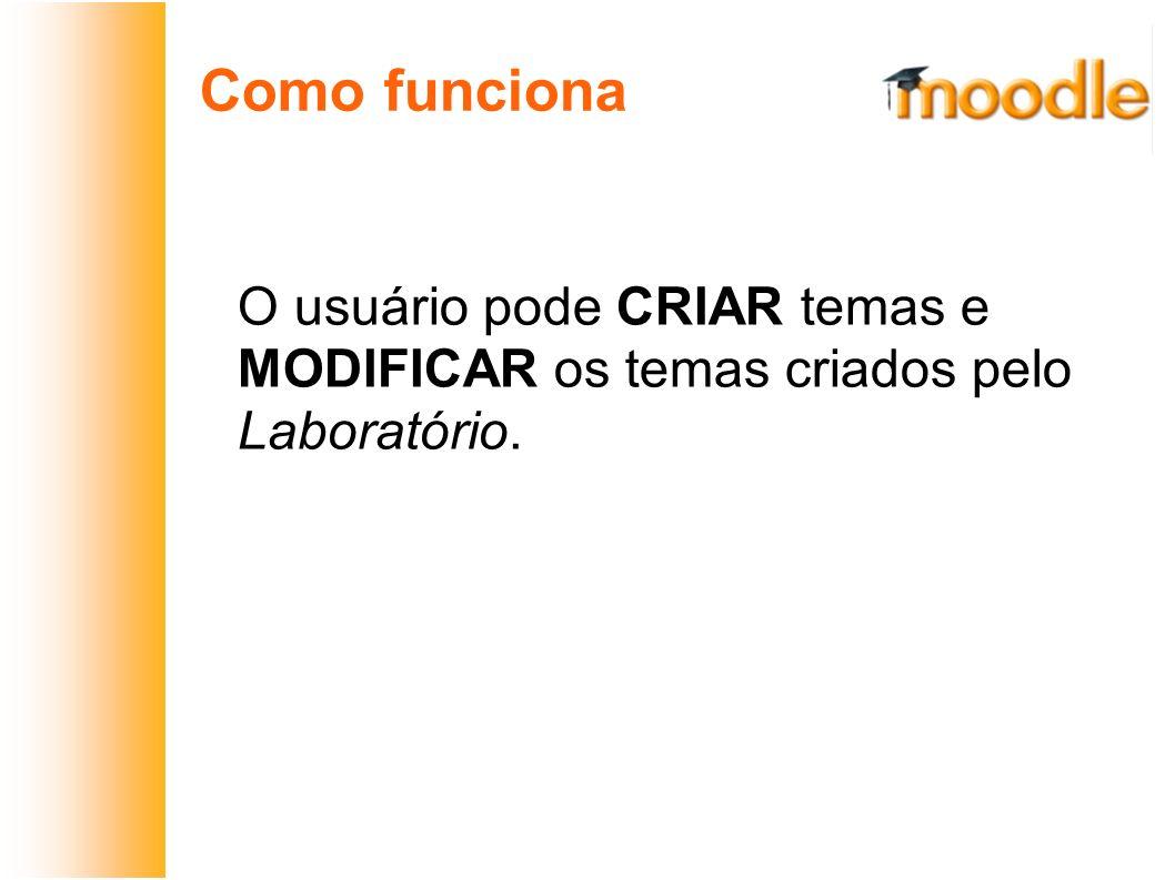 Como funciona O usuário pode CRIAR temas e MODIFICAR os temas criados pelo Laboratório.