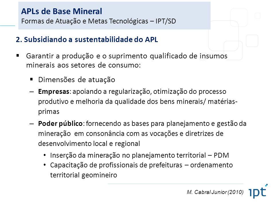 2. Subsidiando a sustentabilidade do APL Garantir a produção e o suprimento qualificado de insumos minerais aos setores de consumo: Dimensões de atuaç