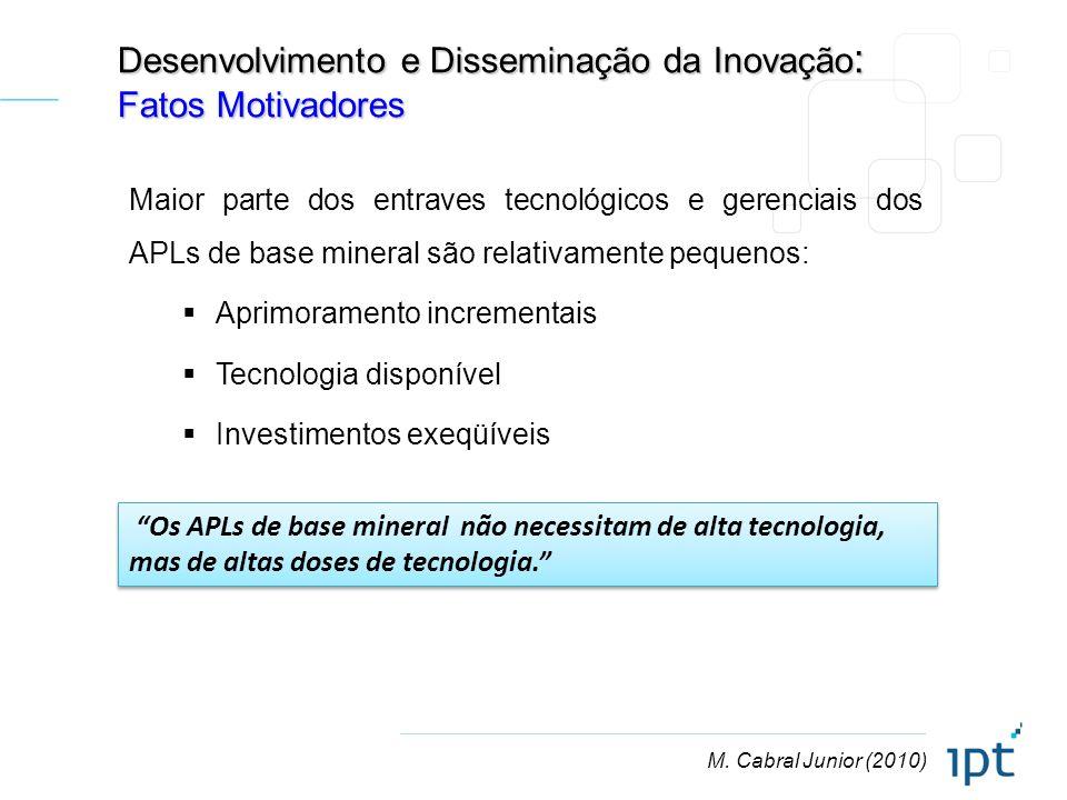M. Cabral Junior (2010) Desenvolvimento e Disseminação da Inovação : Fatos Motivadores Os APLs de base mineral não necessitam de alta tecnologia, mas