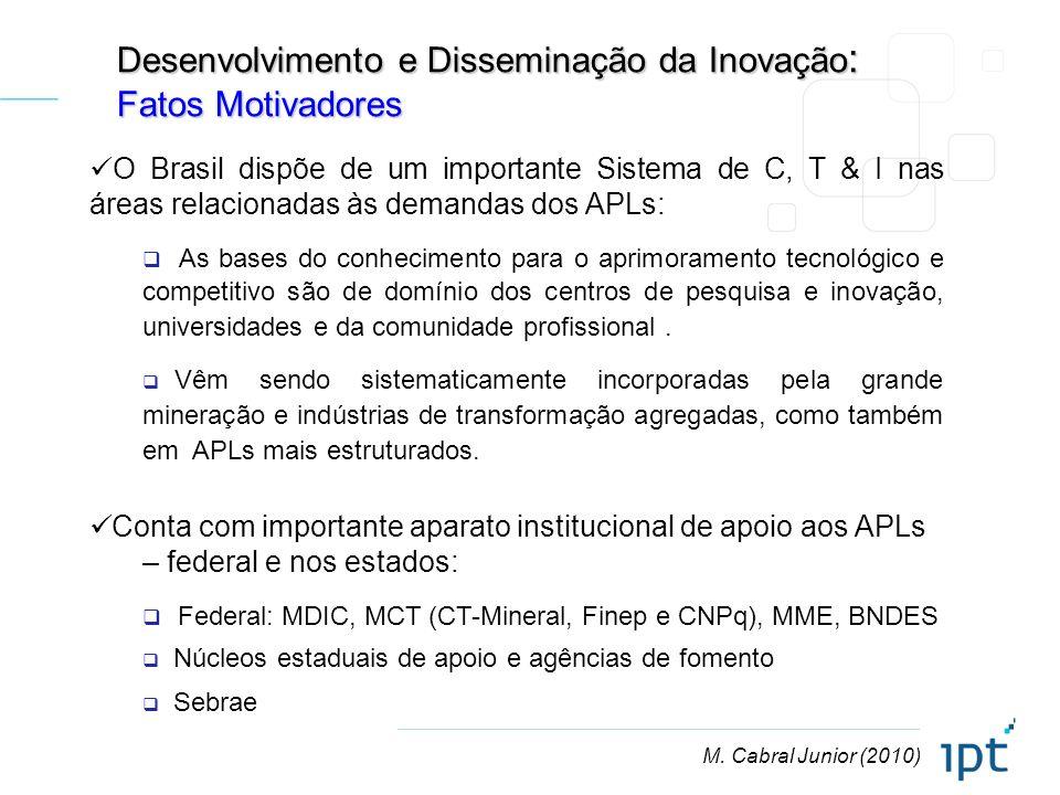 M. Cabral Junior (2010) Desenvolvimento e Disseminação da Inovação : Fatos Motivadores O Brasil dispõe de um importante Sistema de C, T & I nas áreas