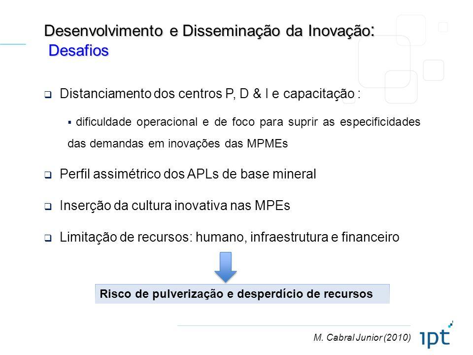 M. Cabral Junior (2010) Desenvolvimento e Disseminação da Inovação : Desafios Desafios Distanciamento dos centros P, D & I e capacitação : dificuldade
