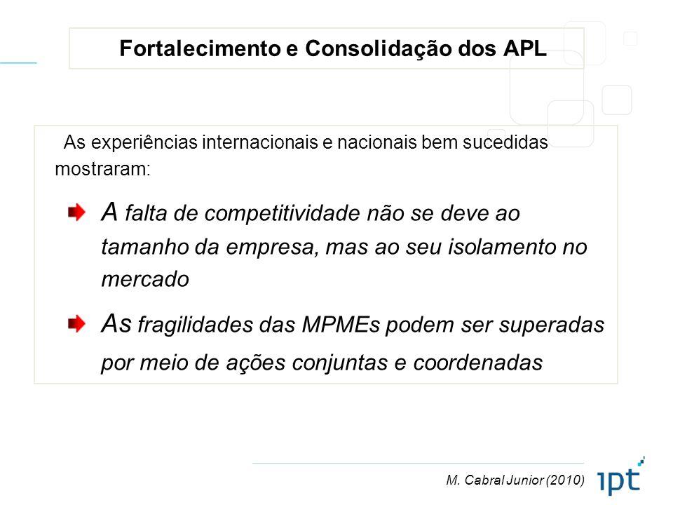M. Cabral Junior (2010) Fortalecimento e Consolidação dos APL As experiências internacionais e nacionais bem sucedidas mostraram: A falta de competiti