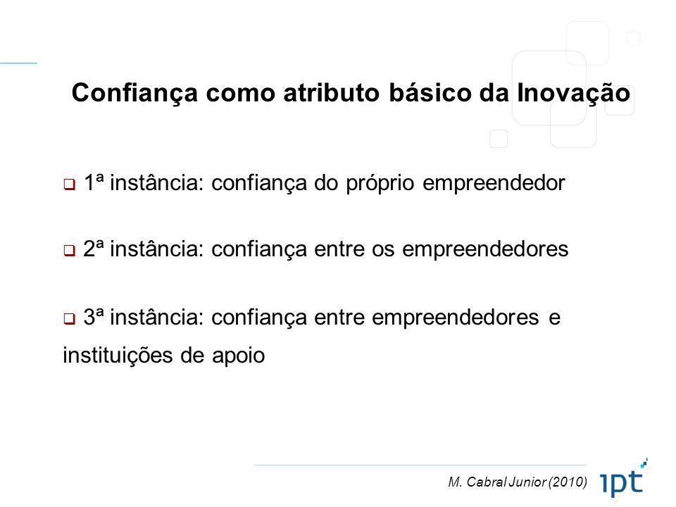 M. Cabral Junior (2010) Confiança como atributo básico da Inovação 1ª instância: confiança do próprio empreendedor 2ª instância: confiança entre os em