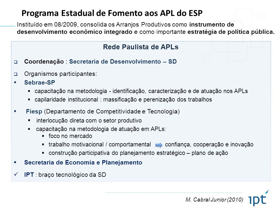 M. Cabral Junior (2010) Programa Estadual de Fomento aos APL do ESP Rede Paulista de APLs Coordenação : Secretaria de Desenvolvimento – SD Organismos