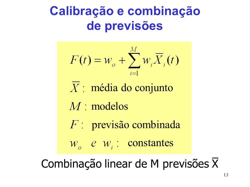 13 Calibração e combinação de previsões Combinação linear de M previsões X constantes modelos média do conjunto previsão combinada